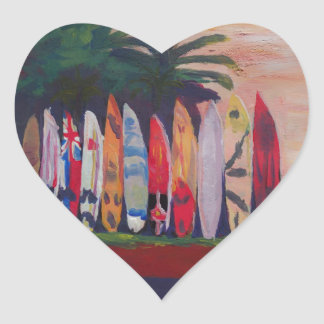 Surf Board Fence Wall at the Seaside Heart Sticker