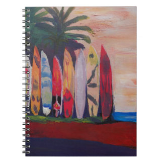Surf Board Fence Wall at the Seaside Spiral Notebook