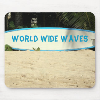 surf board on a beach mouse pad