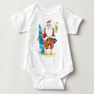 Surf Board Santa with drink Baby Bodysuit