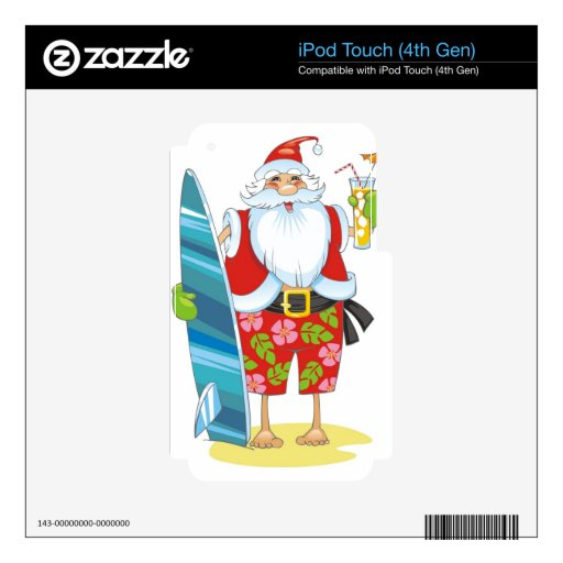 Surf Board Santa with drink Decal For iPod Touch 4G