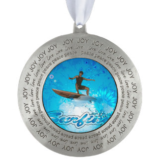 Surf Boarder Round Pewter Ornament