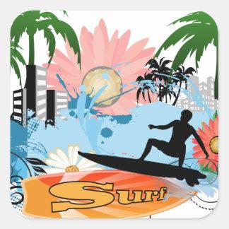 Surf boarder square sticker
