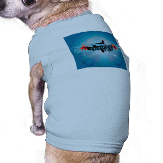 Surf boarder with water splash pet t shirt