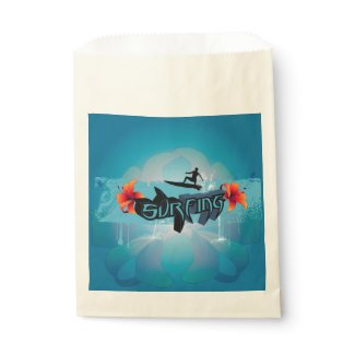 Surf boarder with water splash favor bags