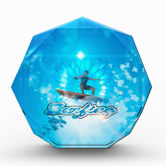 Surf boarders on blue background awards