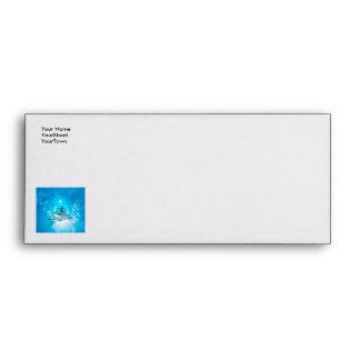 Surf boarders on blue background envelope