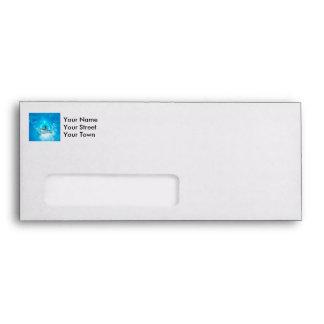Surf boarders on blue background envelopes