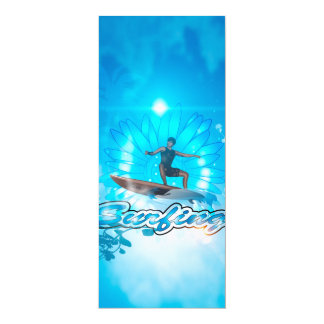 Surf boarders on blue background invitation cards