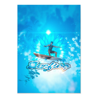 "Surf boarders on blue background 5"" x 7"" invitation card"