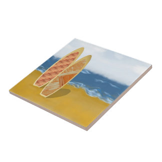 Surf Boards On The Beach Art Ceramic Tile