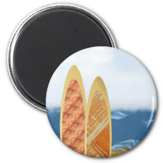 Surf Boards On The Beach Refrigerator Magnet
