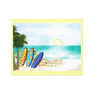 Surf Boards Sunny Beach Seaside Scene Canvas Print