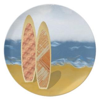 Surf Bords on Beach Plate