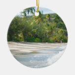 Surf breaking on a sandy beach Double-Sided ceramic round christmas ornament