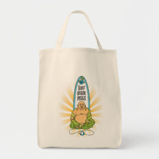 Surf Buddha: Surf, Water, Peace Grocery Tote Bag