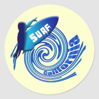 Surf California Californian surfers surfing gifts Round Stickers