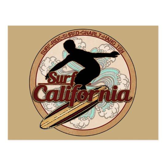 Surf California Vintage Surfboard Logo Postcard