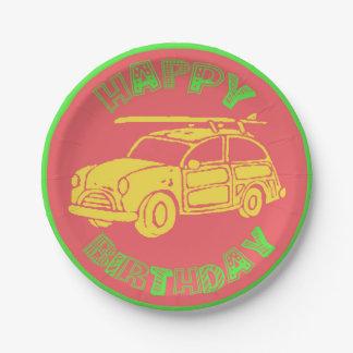 Surf car bright birthday paper plate