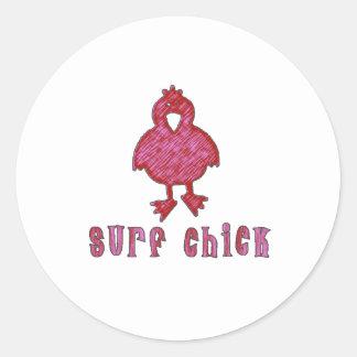 Surf Chick Classic Round Sticker