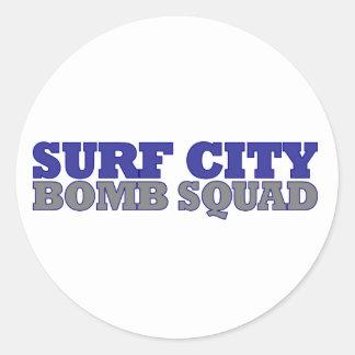 Surf City Bomb Squad Round Stickers