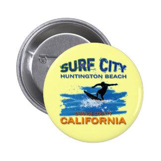 SURF CITY HUNTINGTON BEACH PINBACK BUTTONS