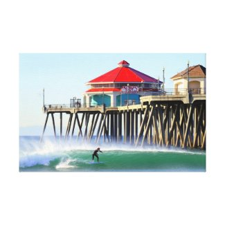 Surf City Huntington Beach Ca Gallery Wrapped Canvas