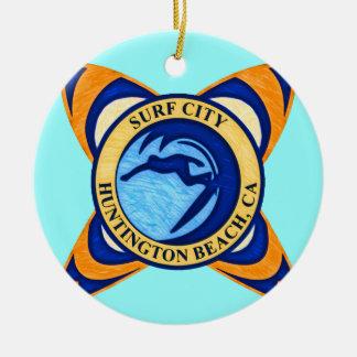 Surf City, Huntington Beach, CA Double-Sided Ceramic Round Christmas Ornament