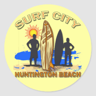 SURF CITY HUNTINGTON BEACH CLASSIC ROUND STICKER