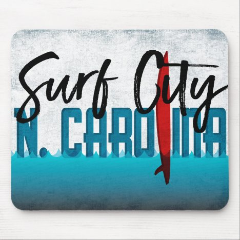 Surf City North Carolina Surfboard Surfing Mouse Pad