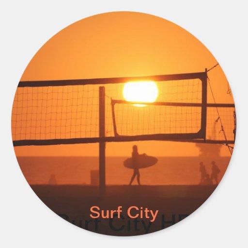 Surf City Round Sticker