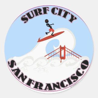 Surf City San Francisco Classic Round Sticker