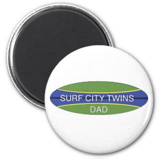 Surf City Twin Dad 2 Inch Round Magnet