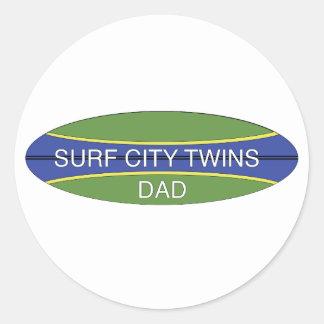 Surf City Twin Dad Classic Round Sticker