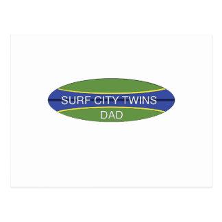 Surf City Twin Dad Postcard