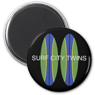 Surf City Twin Surfboards 2 Inch Round Magnet