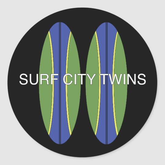 Surf City Twin Surfboards Classic Round Sticker