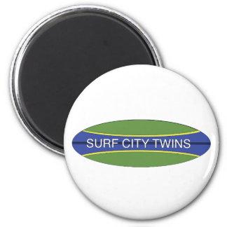 Surf City Twins 2 Inch Round Magnet