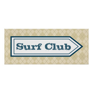 Surf Club Sign Poster Posters