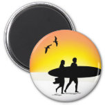 Surf Couple at Sunset Magnet