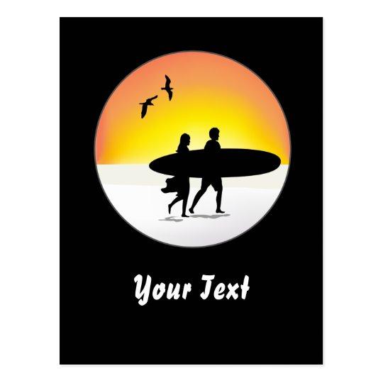 Surf Couple at Sunset Postcard