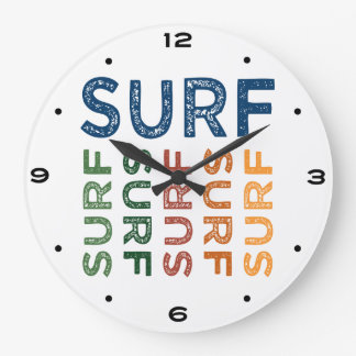 Surf Cute Colorful Large Clock
