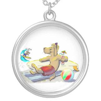 sUrF DoG Round Pendant Necklace