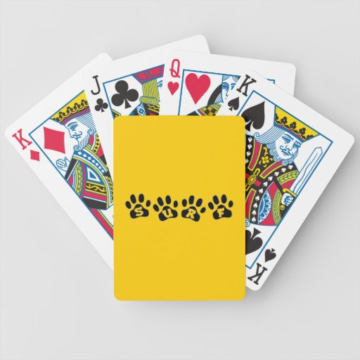 SURF DOGGY PAW PRINTS MOTTO ATTITUDE HAPPY LIFE BICYCLE PLAYING CARDS