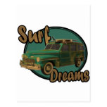 surf dreams lets go surfin in a woodie post card