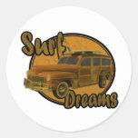 surf dreams woodie wagon brown classic round sticker