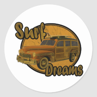 surf dreams woodie wagon brown classic round sticker