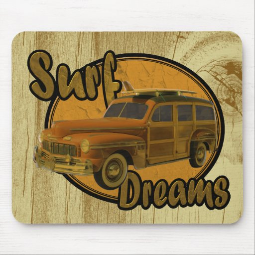 surf dreams woodie wagon brown mouse pad