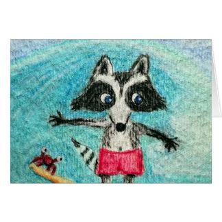 Surf Dude Raccoon Note Card