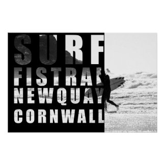 Surf Fistral Beach, Newquay Poster